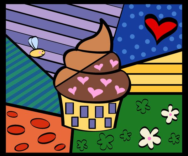 Cupcake pop-art by Romero Britto