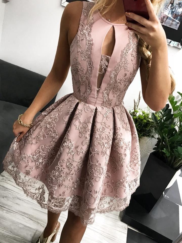 dfaebf1068d0c7 Sukienka koronkowa pastelowy róż bombka wesele kontra fałdy - SUKIENKI w  MOHHO.pl