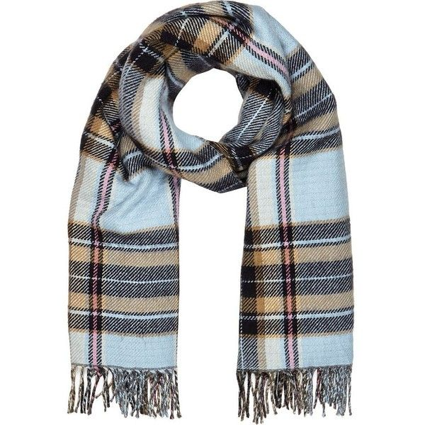 River Island Light blue tartan blanket scarf (20 CAD) ❤ liked on Polyvore featuring accessories, scarves, sale, tartan shawl, light blue shawl, river island, plaid scarves and tartan plaid shawl