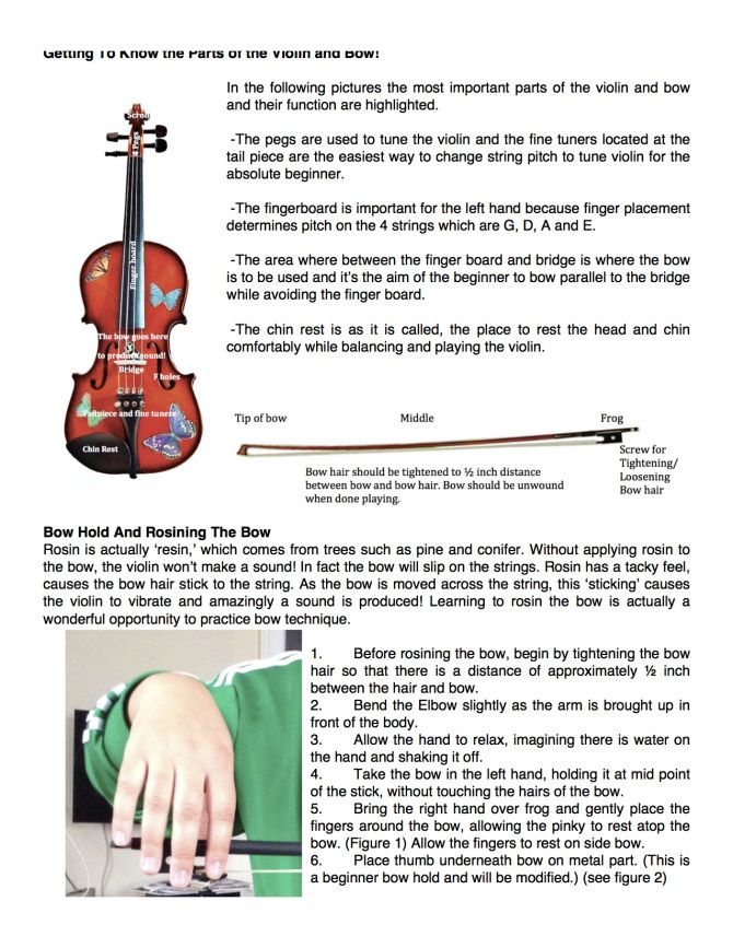 Parts of Violin & Bow Plus Beginning Bow Hold and Rosining