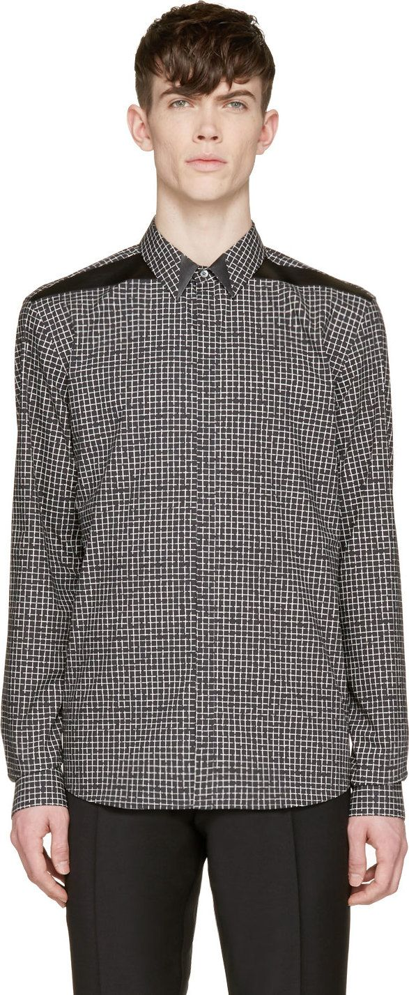 Costume National Black & White Grid Print Shirt