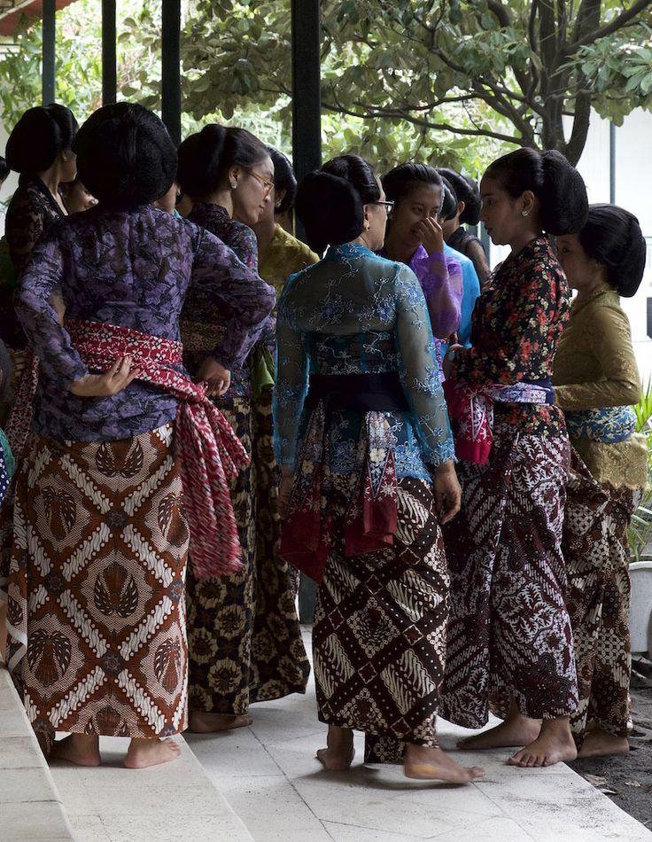 Ladies in beautiful batik at the Kraton Yogyakarta Indonesia