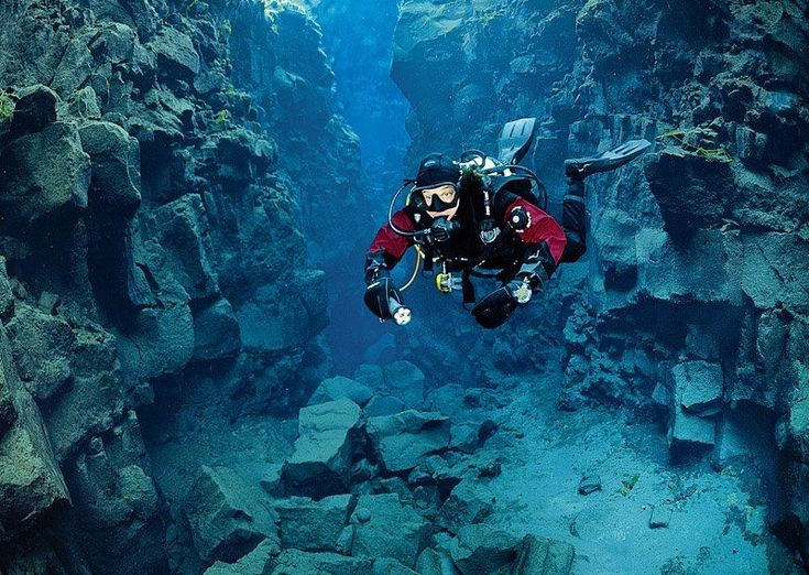 scuba diving between two continents.Located in the Þingvallavatn Lake in the Þingvellir National Park in Iceland, Silfra is a rift that is part of the divergent tectonic boundary between the North American and Eurasian plates. Scuba diver in the Silfra. #ScubaDivingInfographicsandQuotes