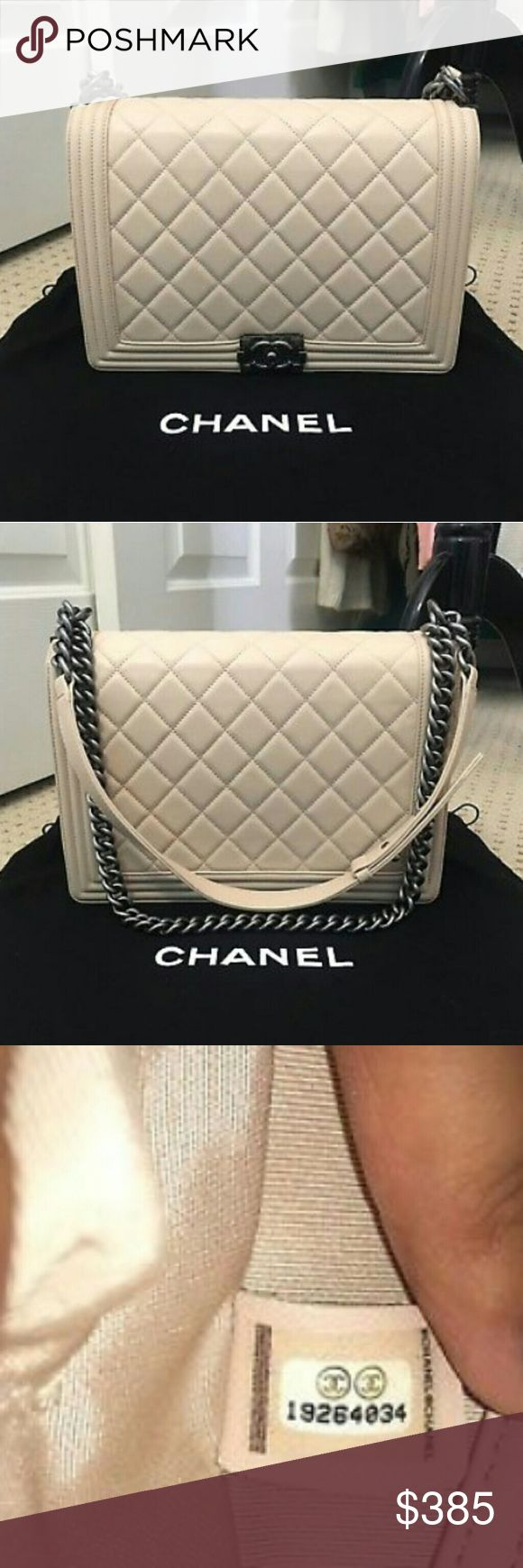 Chanel Classic Leather Lambskin Le Boy Bag Authentic. Comes with dust bag, authentication card and box as shown. There are wear on the corners. Light stain on bottom as shown. Very good condition. Only wore 4x.   Final sale. No returns or exchanges CHANEL Bags Shoulder Bags