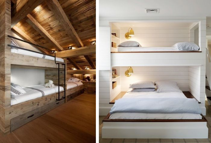 Another sleeping arrangement for three where a single bed lies across a queen size bed with plenty of storage built into the walls.