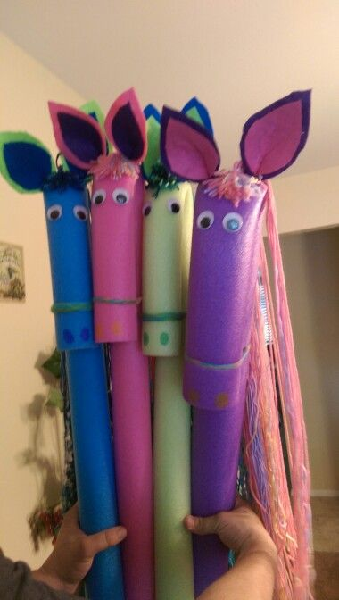 Home made pool noodle horses