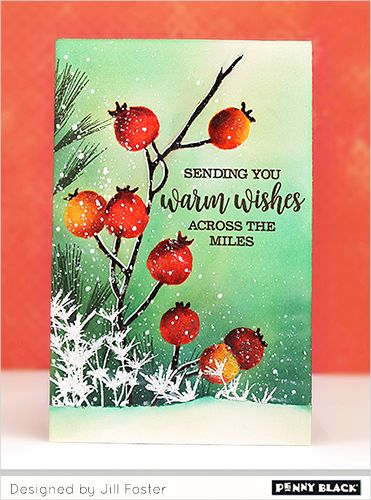 Peaceful Winter Teaser #1: Berries and Brushstrokes | The Penny Black Blog