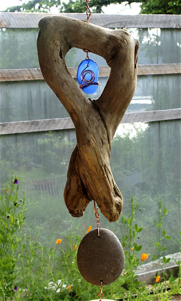 Most amazing driftwood, with glass and beach stone, top section of Coast Chimes…