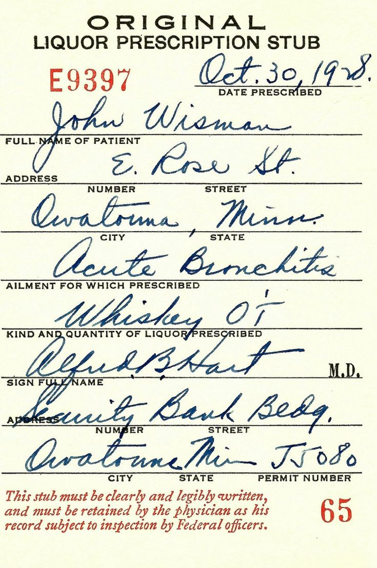 Old 1928 Prohibition Medical Whiskey Prescription Pharmacy Bar Doctor Hart Brewer Vintage Minnesota Speakeasy