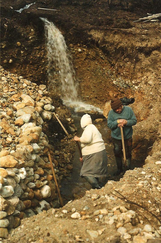 Pirquinero. Tierra Del Fuego Chile 1991. Hand working alluvial gold deposit.