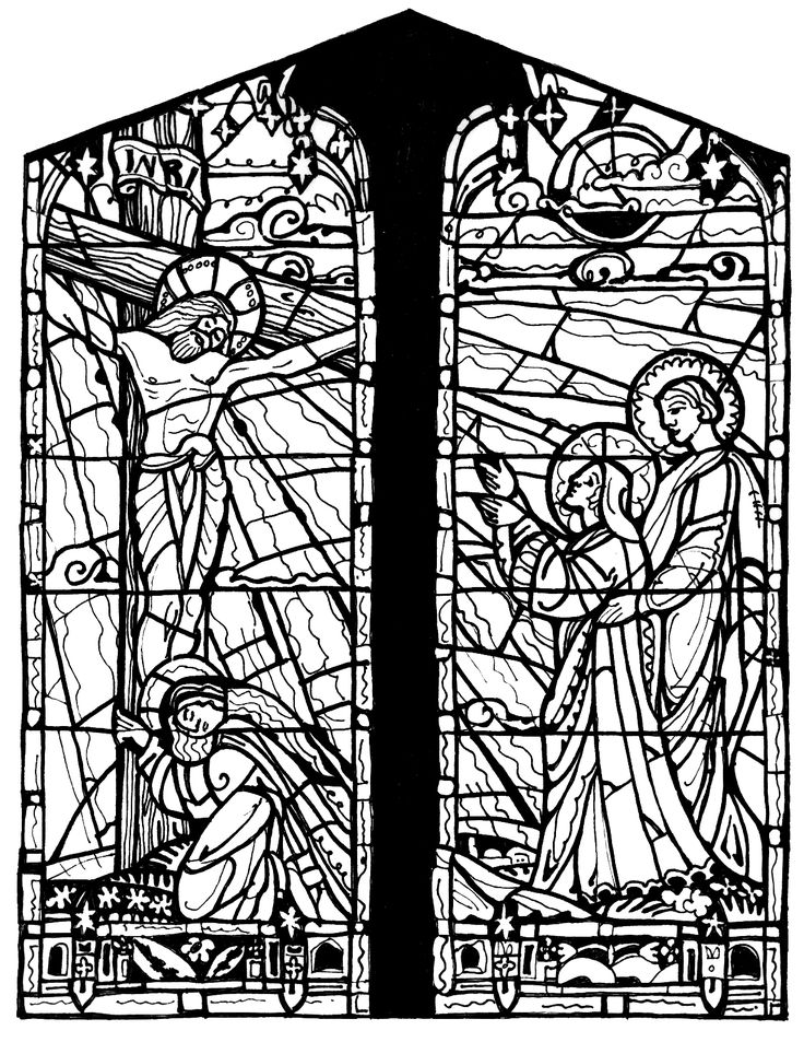 free stained glass coloring pages
