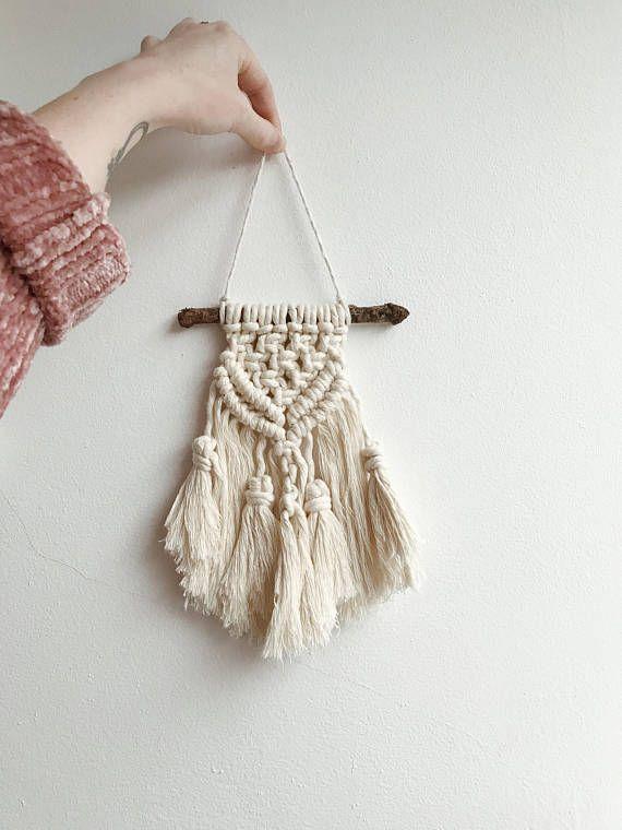 Mini Small Cream Macrame Decoration Cotton Rope Wooden Boho Chic Style Homeware
