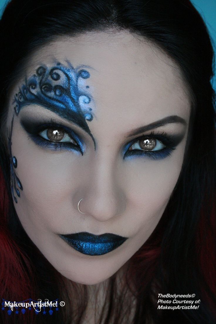 """Blue Secret"" by MakeupArtistMe! Steal the Night, Bahama Blue and Iced Blue pigments. Bitchin' Blue lip color and Holo-Blue glitter."