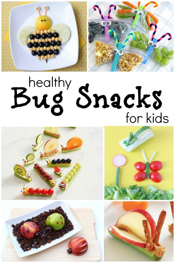 Bug Theme Healthy Snacks for Kids--These are the CUTEST healthy snacks. Perfect for spring! And a great addition to our preschool insect theme via @shaunnaevans