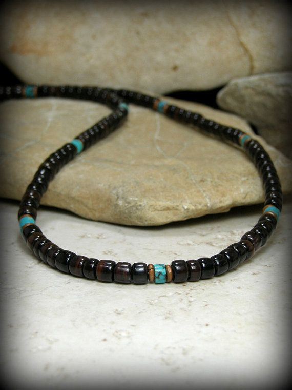 Mens Necklace Turquoise Necklace Heishi by ...