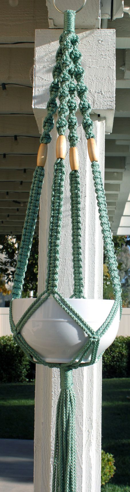 Handmade Blue Green Teal Macrame Plant Hanger Holder with Wood Beads.