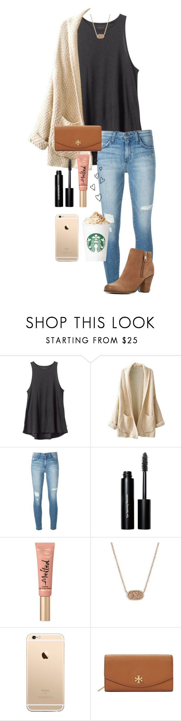 """""""cutie pie"""" by whalesandprints ❤ liked on Polyvore featuring RVCA, Current/Elliott, Bobbi Brown Cosmetics, Too Faced Cosmetics, Kendra Scott, Tory Burch and ALDO"""