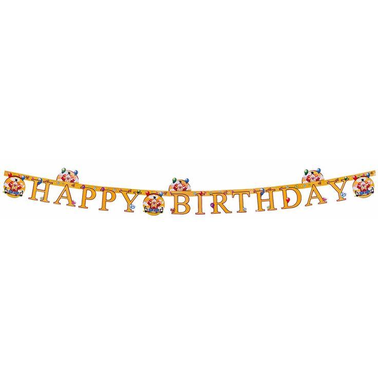 Verjaardag slinger clowns 165 cm. Deze clown letterslinger bevat de tekst: Happy Birthday. Afmeting: ongeveer 165 cm. Materiaal: Karton