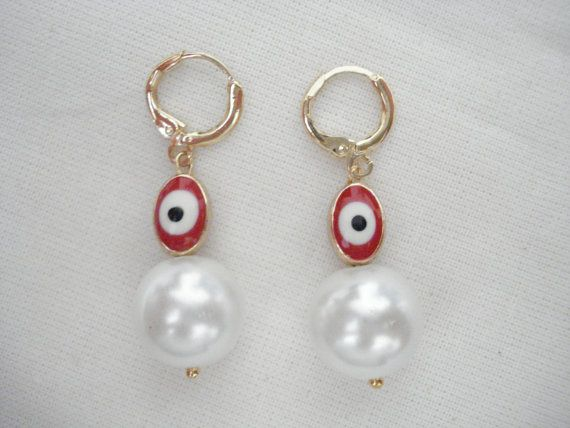 Red evil eye pearl drops Minimalist hoop earrings by Poppyg