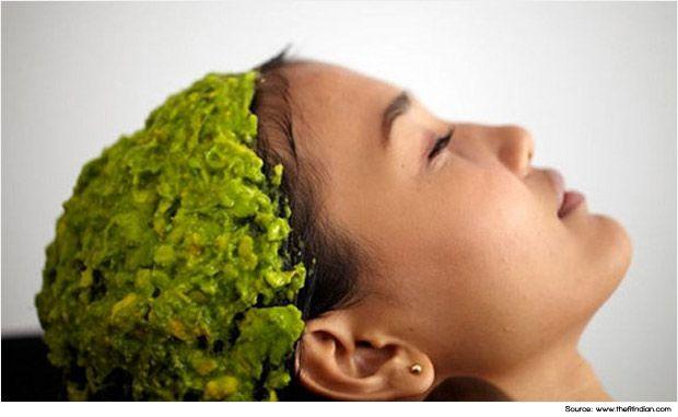 Avocado hair mask to treat dry scalp dandruff