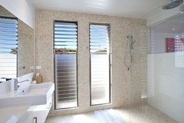 Love the frosted louvres  Arakoon - modern - bathroom - brisbane - SBT Designs