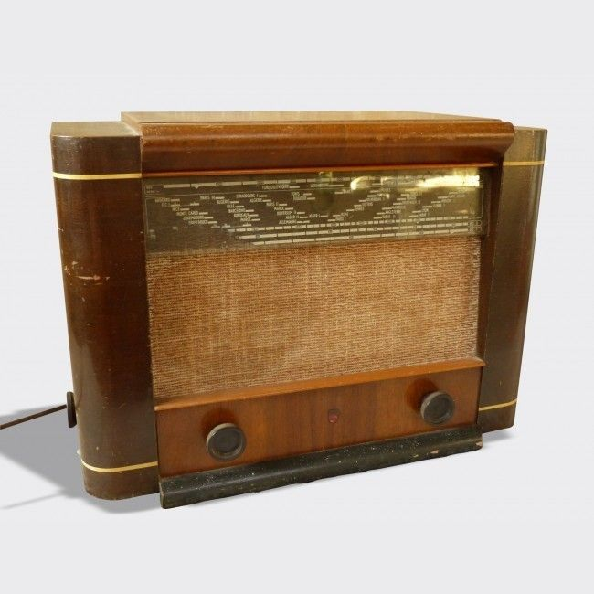poste radio ancien tsf ann es 40 philips bf570a bois mat riau marron bon tat vintage. Black Bedroom Furniture Sets. Home Design Ideas