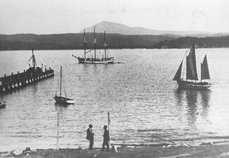 Eden NSW ca.1930 - View of Twofold Bay, taken from Eden looking across the Bay to Boydtown on the opposite shore, with Mount Imlay in distance.