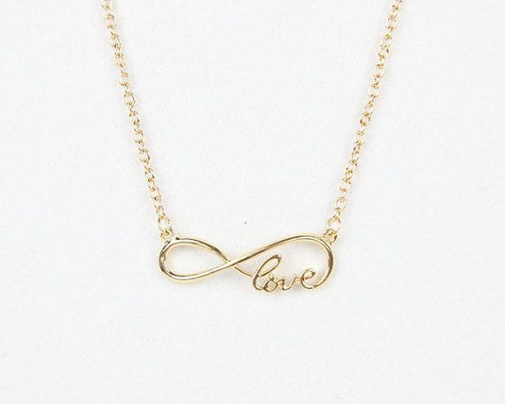 Golden Infinity love necklace love infinity necklace by bluedrib, $2.99
