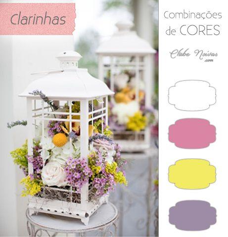 Combinações de Cores Clarinhas - Decoração de Casamento - branco, rosa, amarelo e lilás