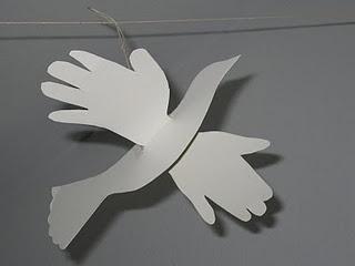 MLK Jr day craft: handprint peace doves
