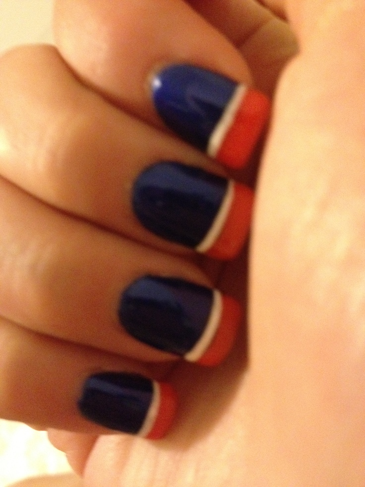 bronco nails maybe on my toes but in patriot colors - Denver Bronco Colors