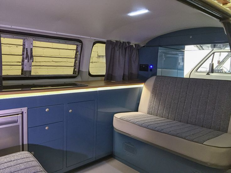 T2 Bay Window Interior In VW Neptune Blue. Campervan ...