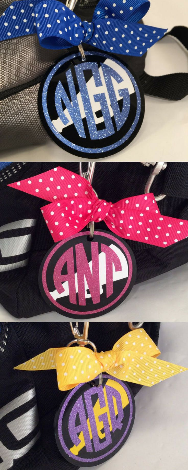 $6.50. Cheer Monogram Bag Tag on Black Acrylic, Personalized, Accessories, Cheerleading Decor, Cheerleading Party, Cheerleading Bag Tag #cheerleading #ad