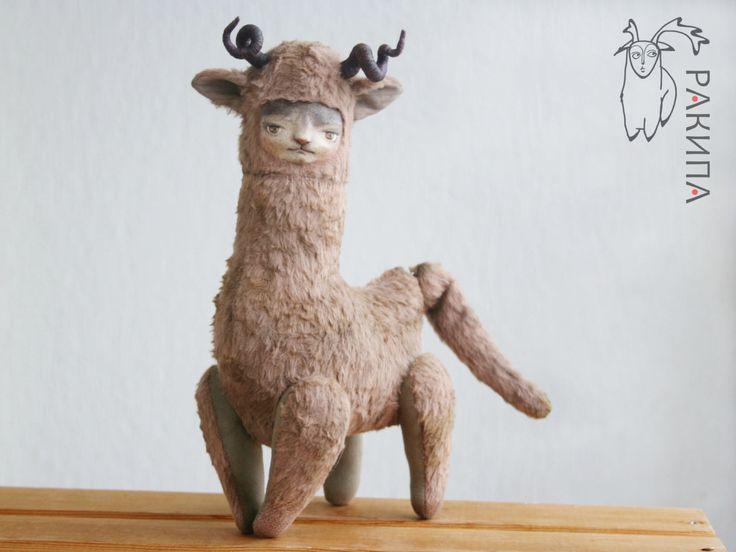 Авторская интерьерная игрушка Котолень Mr. Deer. Коллекционная игрушка. Авторская выкройка. Друзья тедди. by RakipaToy on Etsy