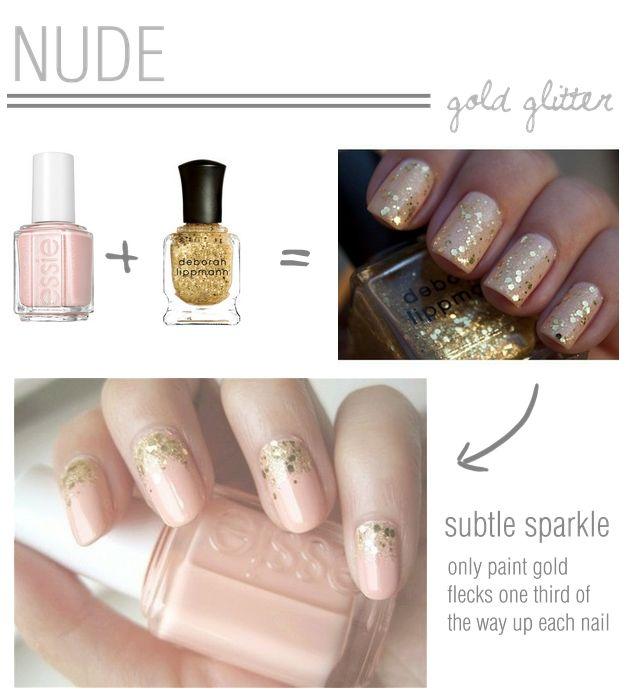 chic nude and gold glitter nails | Bridal Musings: Nude Nails, Gold Glitter Nails, Makeup, Sparkle, Beauty, Hair, Nail Art, Nudes