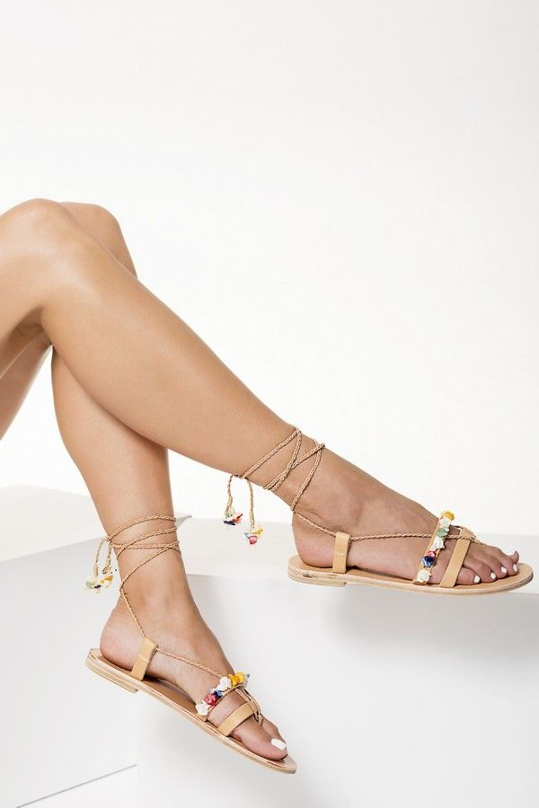Artisanal Leather Lace up Sandals with braided straps, Theresa
