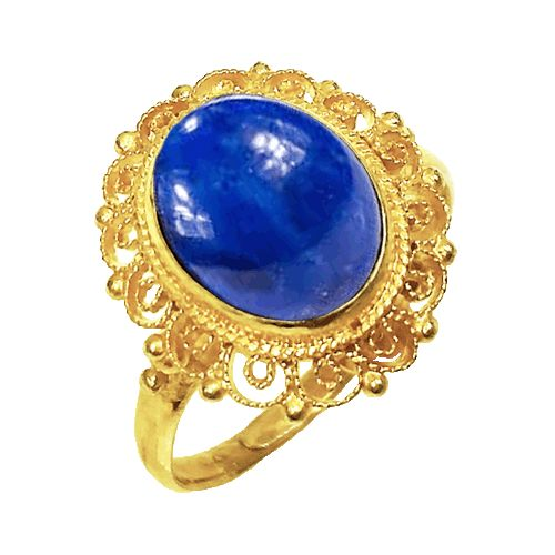 #6005  3 Ct Oval Lapis Adjustable Ring in Sterling Silver 14k Ov