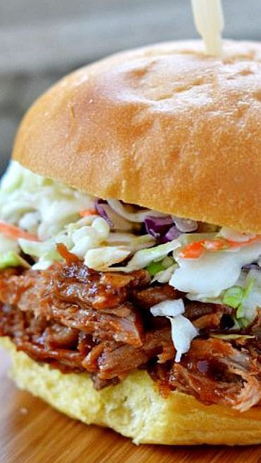 Slow Cooker Root Beer Pulled Pork Sandwiches; the crunchy and sweet combo is a winner!