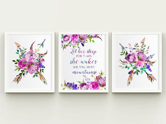 Tribal floral girl nursery printable wall art set let her