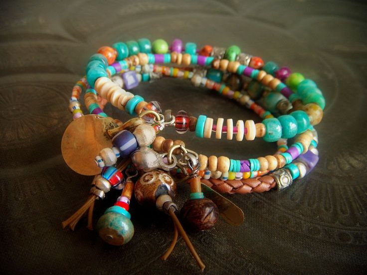 yuccabloom - on etsy! Jasper, Amazonite, Coco Shell, African Glass and Indian Charms Beaded Leather Bangle Set