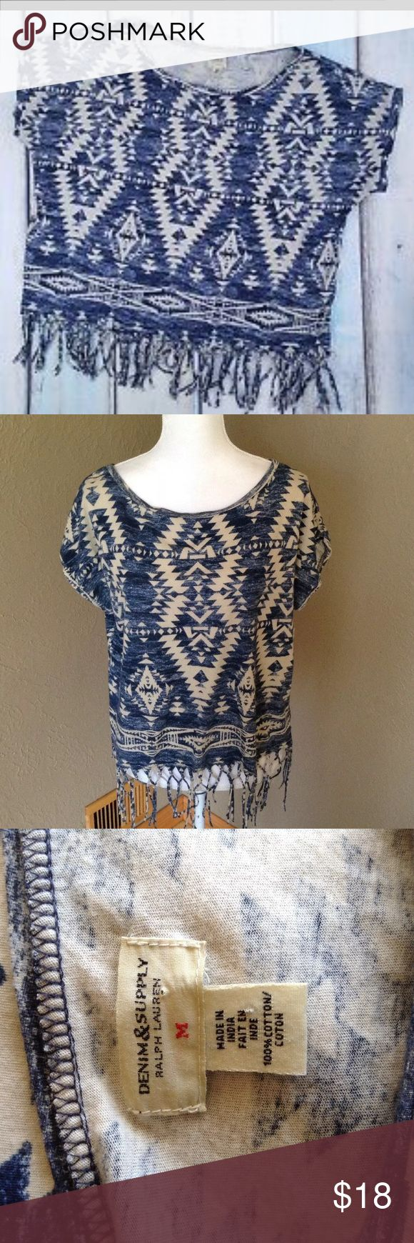 Ralph Lauren Denim supply s/s fringe Aztec Blouse Please see photos for all measure and detail prior to purchase. 21 inches in length AT Hem.. not including fringe  This item was pre owned and gently worn. It comes from a smoke free home. There are no holes, rips, tears or stains to note. Fast shipping! Buy with confidence! Thanks for looking!! Denim & Supply Ralph Lauren Tops Blouses