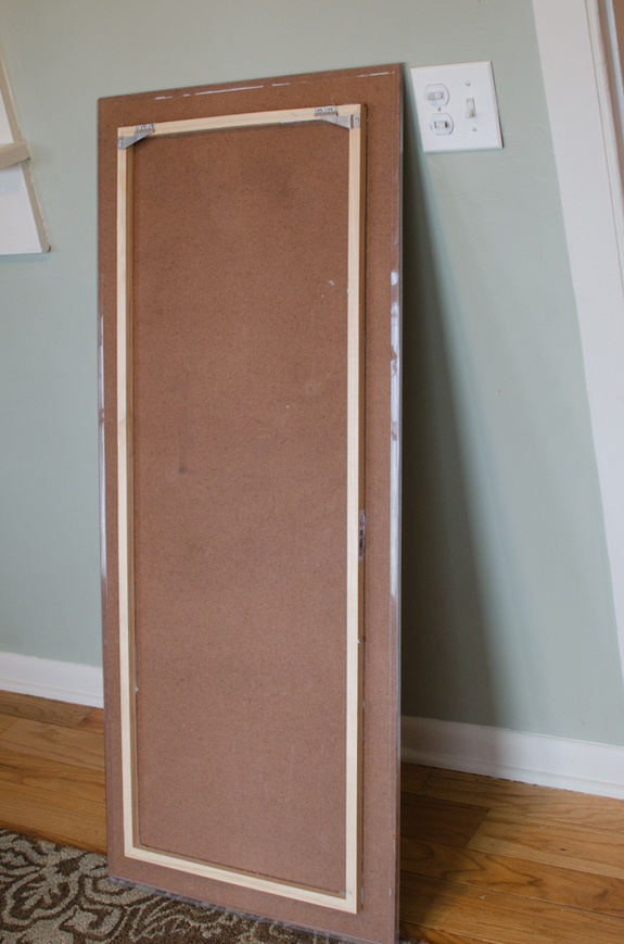 another way to hang large art - glue additional framing block to the back of plywood art piece