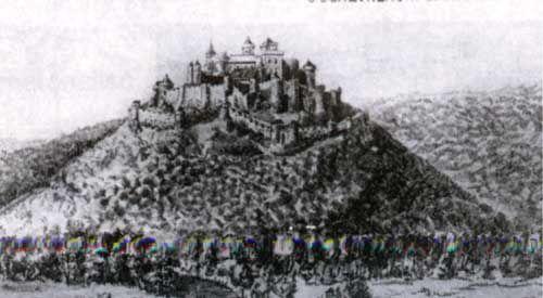 Reconstitution imaginaire de la forteresse de CHEVREMONT au VII°s. - ANSEGISEL.- 3) ASSASSINAT, 1: La Vita Beggae, rédigée au XI°s, raconte qu'Ansegisel est assassiné à CHEVREMONT (près de Liège) par un noble austrasien du nom de GODIN ou GUNDOEN qu'il aurait auparavant élevé comme son fils. La date de cet événement n'est pas mentionnée, elle est postérieure à 648 (un acte des abbayes de Stavelot et Malmédy le mentionne comme vivant) et antérieure à 691 (quand Begga, veuve, se retire à…