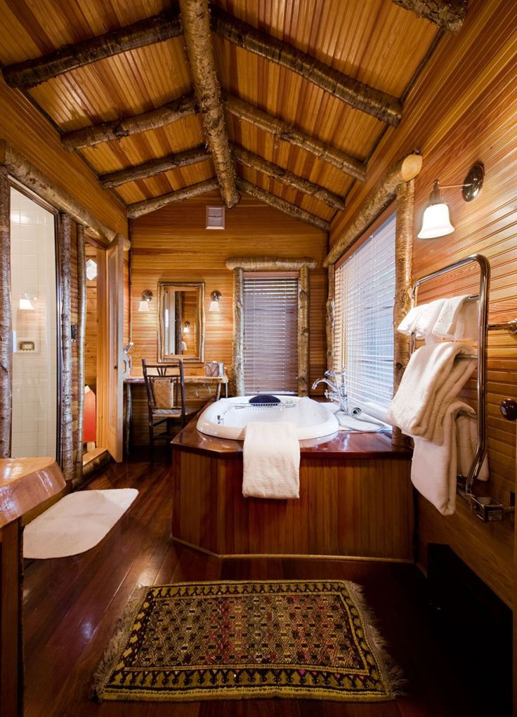428 best images about rustic living homes rooms decor for Log cabin bathroom pictures