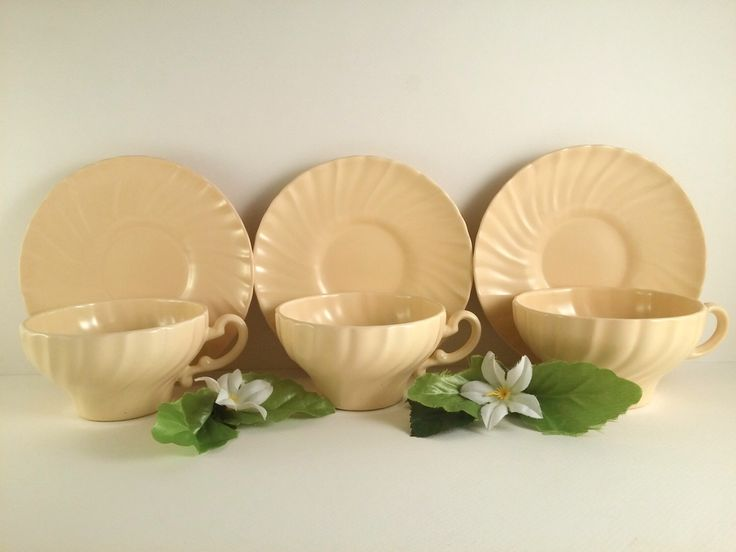 ON SALE! Set of Three Franciscan Ware California Pottery Yellow Cornodo Cups and Saucers.  Was 36.00 Now 30.00! by VintageQuinnGifts on Etsy https://www.etsy.com/listing/238351767/on-sale-set-of-three-franciscan-ware