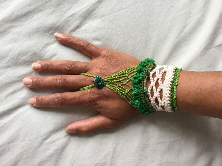 A personal favourite from my Etsy shop https://www.etsy.com/uk/listing/535842765/crochet-hand-cuff-crochet-bohemian