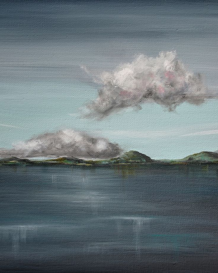 Whimsical clouds, deep broody waters, long hills. A beautiful original landscape painting.