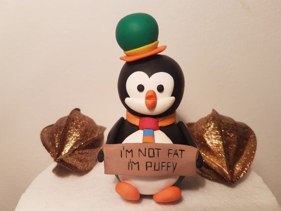I'm not fat I'm puffy Funny penguin holding sign by FiguresAnya