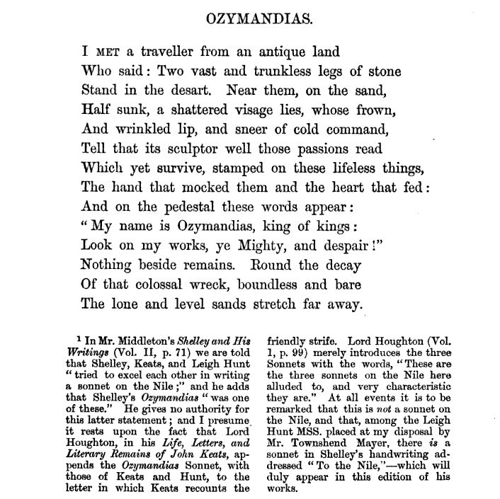 "Ozymandias - poem - poetry - Percy Bysshe Shelley - ""Look on my works ye Mighty and despair."""