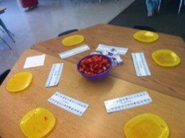 Making Friendship salad--lesson on friendship. I would like to take this idea and have older kids approach each table/group of kids and ask something in order to obtain all the fruit they need to create a fruit salad. Could help work on social skills too.